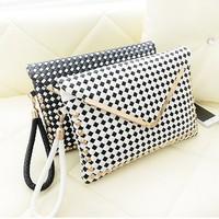 women's handbag vintage envelope   rattan knitted rivet day clutch bag messenger   women bag leather fashion bags women