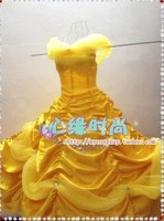 Freeshipping Hot sale Custom made Beauty and the Beast Belle cosplay  costume The yellow dress for party