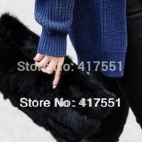 new 2014 women clutch,fashion black women handbag,Crocodile grain real rabbit fur evening bags,women bag