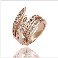 New Hot Selling Rhinestone Rose Gold Plated Ring Crystal Size 6.7.8 Free Shipping Z0048