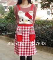 Hello Kitty HelloKitty red lattice apron cute cat cartoon apron three-dimensional cartoon apron