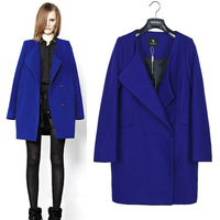 2013 fashion loose long-sleeve woolen cloth overcoat medium-long woolen outerwear 826