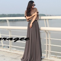 Verragee 2013 Autumn And Winter Women New Arrival Vintage Goddess Batwing Sleeve Fur Patchwork Elegant Chiffon Long Dress