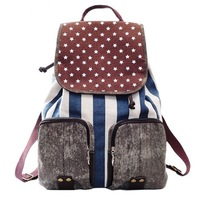 2013 brand school bags for teenage girls old denim style european stripe canvas backpack drawstring bag galaxy printing backpack