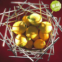 Metal bird nest basket rustic stainless steel fruit basket candy tray new house decoration