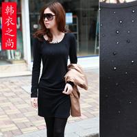 2013 autumn one-piece dress women's o-neck slim basic slim hip long gown