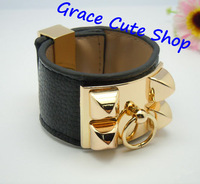 Free Shipping Wide Leather Bangles Sexy Punk Style Famous Brand Jewelry High Quality Package (Dust Bag,Gift Box ) #HB143-Black