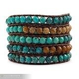 Charm Bracelets& Available Upon Request Natural turquoise lucky wrap bracelet Copper buckle cowhide rope knitted(China (Mainland))