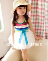 GOOD baby nice Hot!! Promotion!!! new summer baby dress&girl tutu rainbow cute sleeveless/white