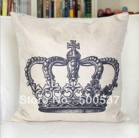 "E5-England style-retro crown Free Ship CROWN VINTAGE Linen Throw Pillow Case Decor Cushion Covers 17""/43cm Light Gray"