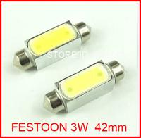 New FestoonShipping 50X 43mm Festoon 3W Car Auto Interior High Power 3W 43mm led Light White Festoon Dome Lamp Bulb