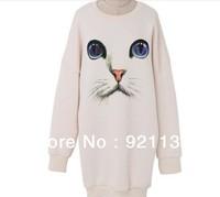 Free Shipping Plus Size Cute Cat Print Round Neck Flocking Warm Loose Long Sweatshirt Ladies' Best-selling Outwear Coat White
