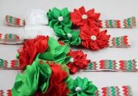 28pcs/lot  Red Green Print FOE Elastic Headband Christmas Headband Children Flower Hair Accessories Free Shipping