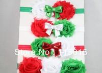 20pcs/lot  FOE Elastic Headband Red Green White Shabby Flowers Sequin Bow FOE Christmas Headband Hair Accessories Free Shipping