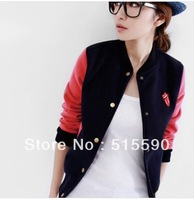 Han edition color matching baseball uniform blazer jacket lady's coat