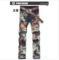 New arrival Free shipping 2013 leopard print colored drawing flower male slim jeans men's COOL print denim pants