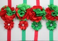 28pcs/lot  Red Green FOE Elastic Headband Christmas Headband Children Flower Hair Accessories Free Shipping