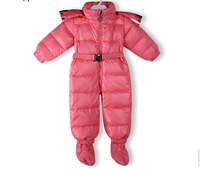 Free shipping 2014 winter new female baby thick duvets Romper climbing clothing coveralls