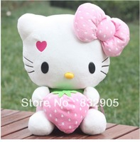 Free shipping!1 PCS height sitting18cmHello Kitty Cat with strawberry plush cotton toy / KT  soft figure dool for kids.