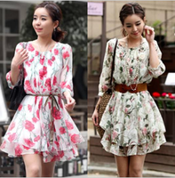 saia chiffon 2013 autumn women's gentlewomen half sleeve chiffon one-piece dress rustic one-piece dress female