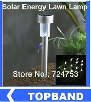 Wholesale 10pcs/lot LED stainless steel Solar Light Solar Garden Light Outdoor Solar Landscape Light Lamp Lawn Free Shipping