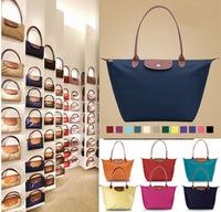 2014 New women Gnuine Leather handbags Nylon Handbag Purses Folding Brand bags mami Shopping tote shoulder bags Free Shipping