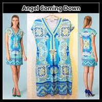 Fast shipping Summer 2013 Printed V-Neck Stretch Jersey Day Dress   J193
