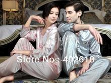 (1 Set/Lot) New Fashion, Men silk pajamas, Women sleepwear, Silk sleepwear, Size L, XL, XXL, Long-sleeve nightdress(China (Mainland))