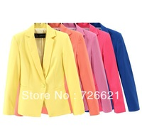 2013 Winter& autumn new Brand women's one button slim 5 candy color blazer ol slim blazer outerwear
