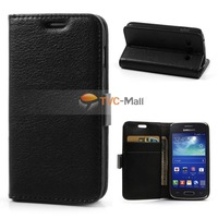 Black Lychee Leather Stand Case For Samsung Galaxy Ace 3 S7270 S7272 Free Shipping