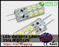 Cree LED Spotlight bulb light lamp G4 2W LED SpotLight Lamp 3014SMD 12V 24leds High Brightness CE ROHS 30pcs/lot Free shipping