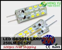100x Cree G4 LED Spotlight bulb light lamp CE ROHS G4 2W LED 3014SMD 12V 24leds Fast Arrive Warranty 2 Year