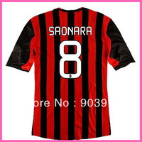 2014 Factory Price Embroidery Logo Ac Milan SAONARA Home Soccer Jersey,Original Quality Ac Milan 13/14 Football Shirt,Mix