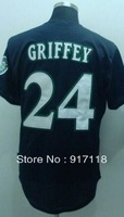 Free Shipping #24 Ken Griffey Throwback Men's Baseball Jersey,Embroidery and Sewing Logos,size M--3XL,Accpet Mix Order