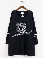 Autumn HARAJUKU embroidery tiger pattern design long-sleeve long sweatshirt autumn and winter women