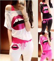2013 Women's Casual Big Mouse/Lip Printed short-sleeve T-shirts+ trousers/Lady's sports sets,Free Shipping