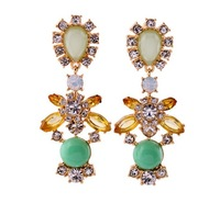 High Quality Fashion Green Crystal Stone Flower Drop Earrings Brand Luxury Statement bib Jewelry For Women Free Shipping 2013