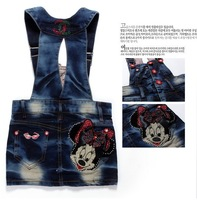 2013 Summer New Children's Blue Jeans Dress, Girl's One Piece Minnie Mouse Denim Overall Dress, 90-130 Free Shipping