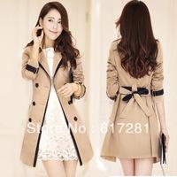 Free shipping, fashion casual dress new women windbreaker jacket , autumn - winter Slim thin coat lapel long-sleeved jacket