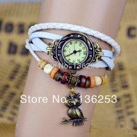 2014 New HOT 100pcs/lot 7 Colors Lady Women Genuine Leather Vintage Watch bracelet watches High Quality Owl Pendant