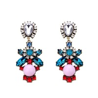 New Fashion Pink Resin Blue Crystal Stone Flower Drop Earrings Vintage Luxury Statement Jewelry Gold Women Free Shipping 2013