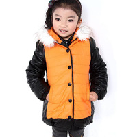 2013 children's winter clothing female child white fur collar hat solid color all-match child winter thickening wadded jacket