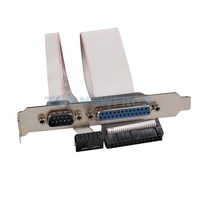T2N2 PCI Slot Header Serial DB9 Pin COM with Parallel DB25 Pin LPT Cable Bracket