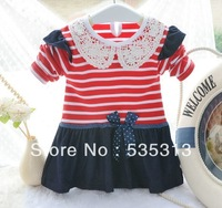 all $15 free shipping 2 colours girl's fashion dress Boy's stripe style dress full cotton  girl long sleeve jeans dress