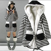 2013 Winter New Fashion Long Sleeve Striped Zebra Pattern outwear women's cotton Coat Windbreaker Trench Free Shipping