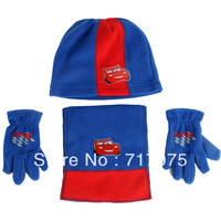 Free shipping 3pcs/lot Autumn and winter polar fleece fabric hat child thermal scarf gloves hat 3 pieces set boy scarves suit