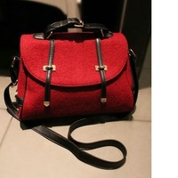 Free shipping  Messenger bag 2013 red women's handbag woolen fashion vintage bag one shoulder cross-body women's bags