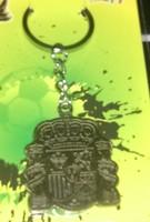 free shipping spain national football team bronze metal keychain /  spanish key rings   2pcs/lot