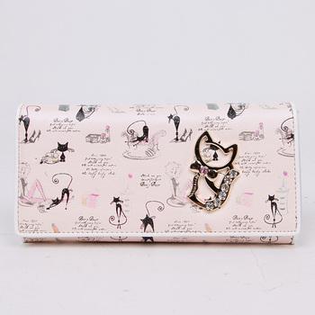 Betty boop sweet women's wallet long design lucky cat wallet women PU long wallet mujer cartera larga con gato