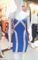 2013 New Elegant Womens Bandage Dress Club Cloth Formal Western Style Wear Sexy Junior Party Gowns Patch V-neck Blue HL1103